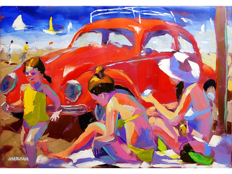 Beetle at the Beach 140x100cm AVAILABLE AT MAKIWA GALLERIES