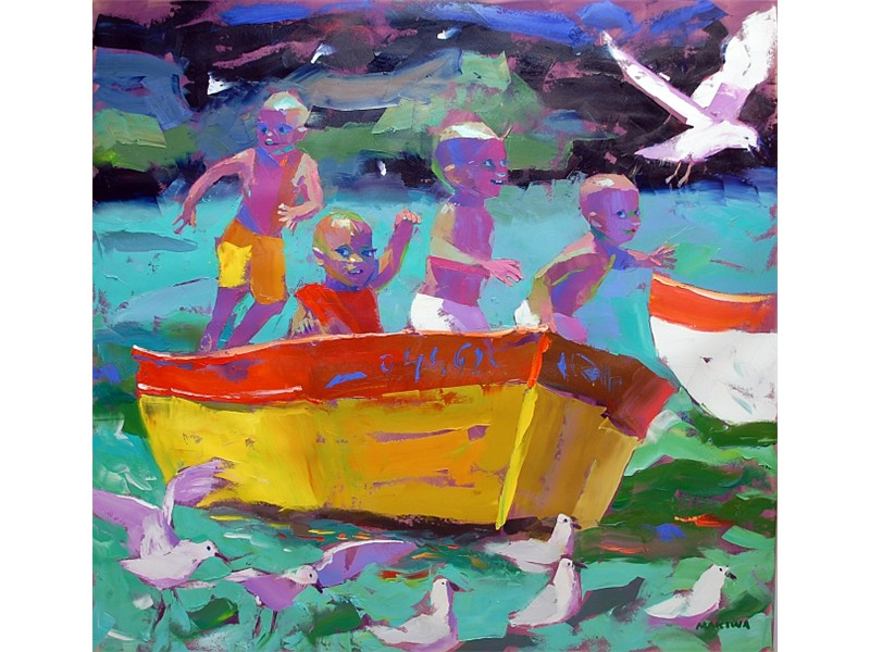 Fun On the Boat 140x140cm SOLD