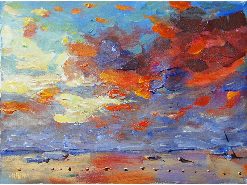 Pereybere-Red Sunset 25x40cm AVAILABLE AT MAKIWA GALLERIES