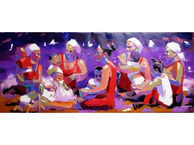 The Mothers and Children 200x80cm AVAILABLE AT MAKIWA GALLERIES